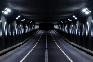 gray paved road tunnel